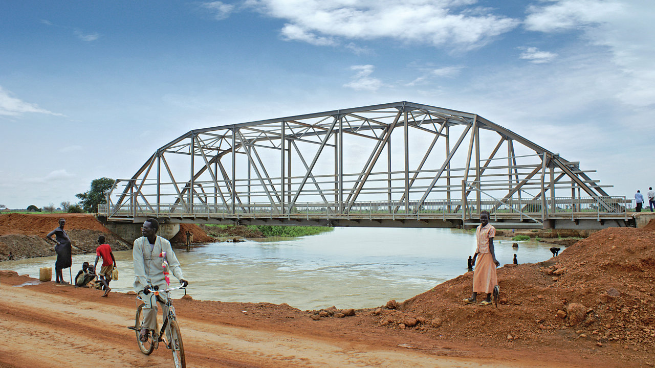 One of our 50 metre clearspan, two lane roadway bridges on the Aweil Road, Eyat, Sudan