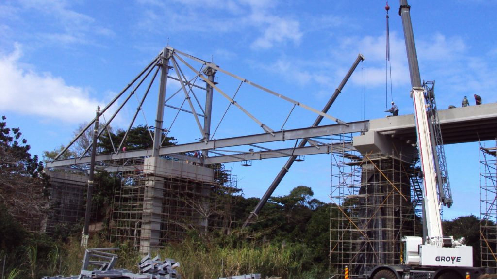 64.8m REIDsteel stayed bridge in Mauritius.
