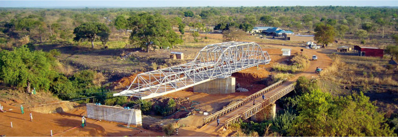 50 metre span bridge being launched in South Sudan